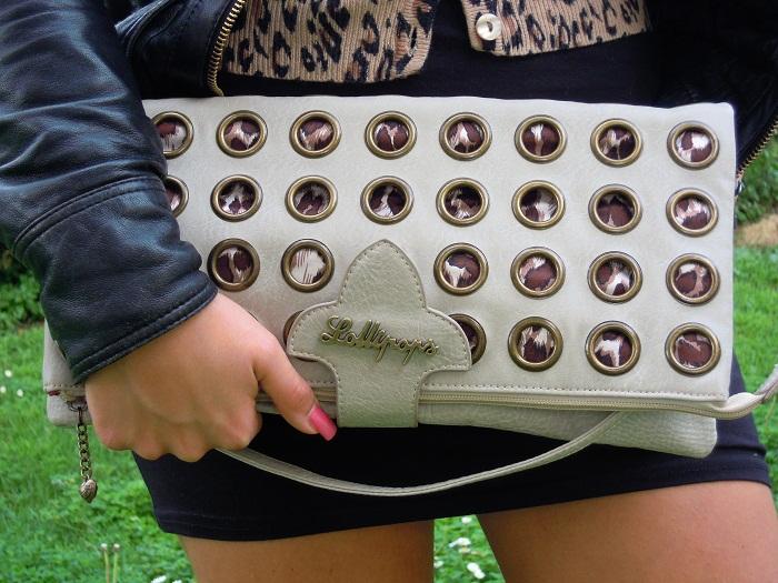 foto minidress nero H&M e pochette Lollipops