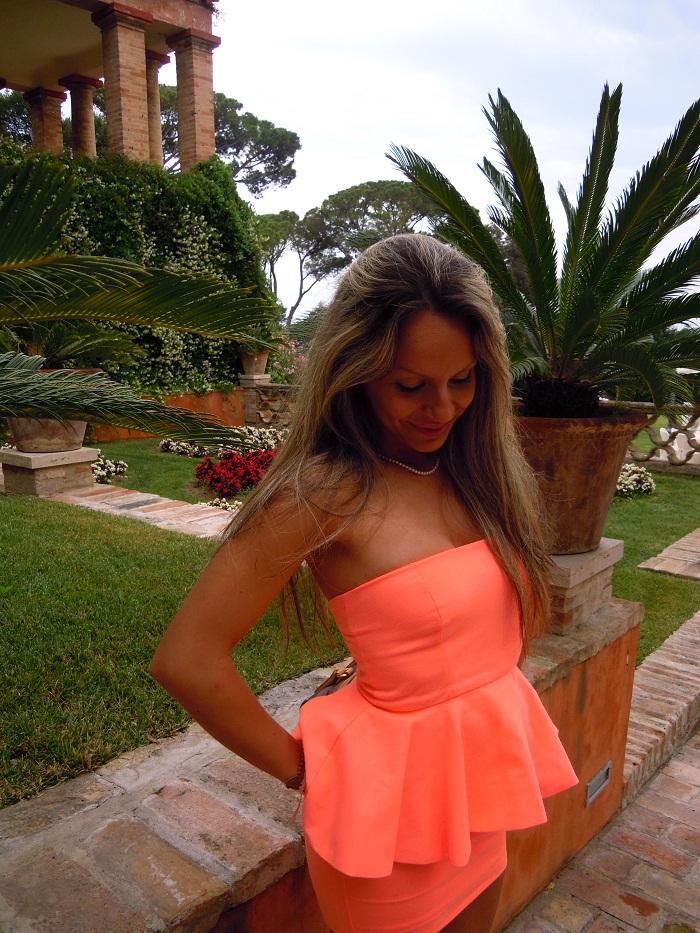 Apricot peplum dress