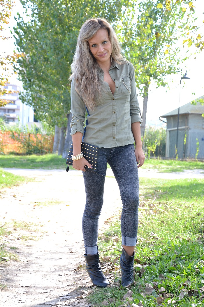 military shirt and ankle boots - it-girl by Eleonora Petrella