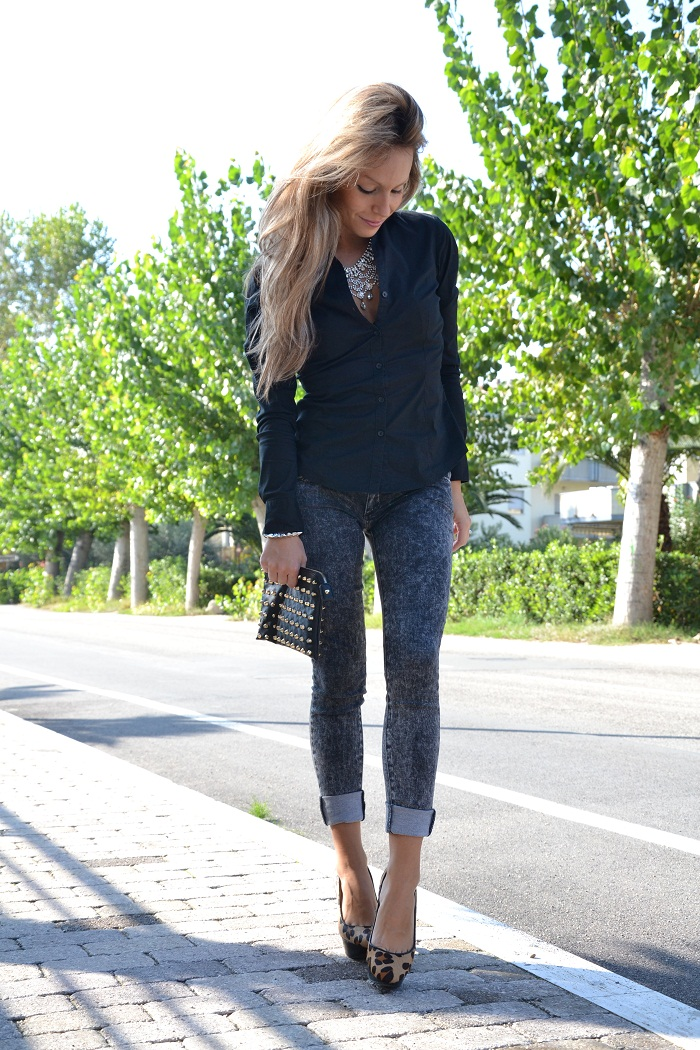 Jeans skinny and animalier heels - it-girl by eleonora Petrella