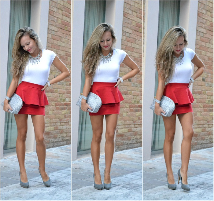 red peplum skirt and zara necklace - it-girl by Eleonora Petrella