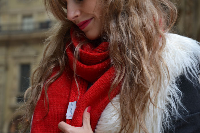 Moncler scarf and faux fur gilet - It-girl by Eleonora Petrella