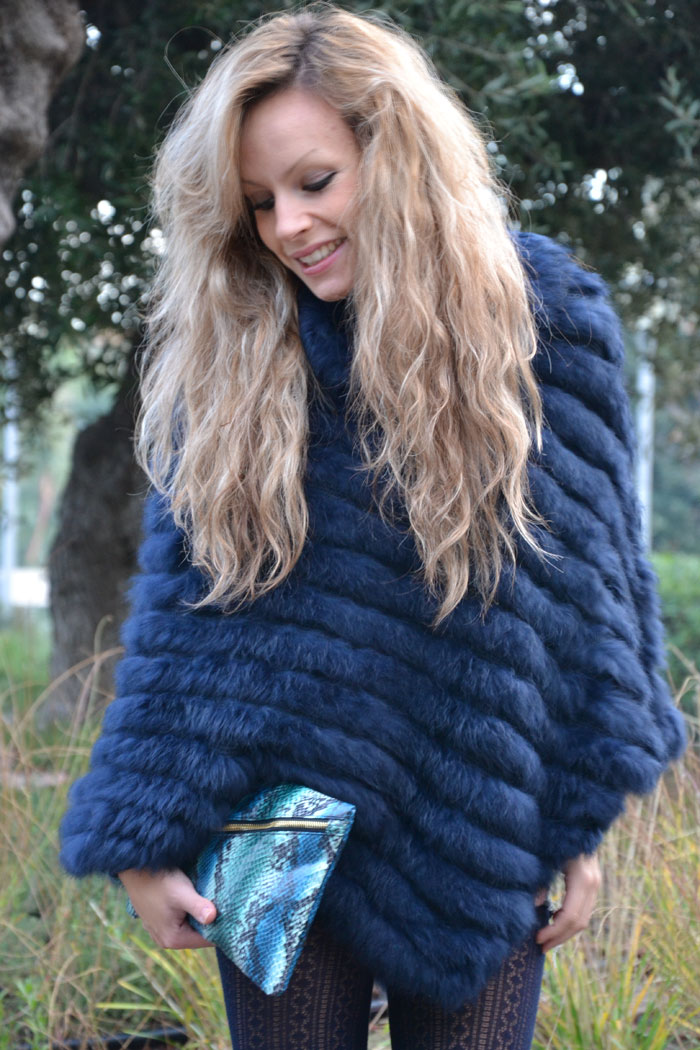 Blue faux fur cape, Zara heels and Asos pochette - It-girl by Eleonora Petrella