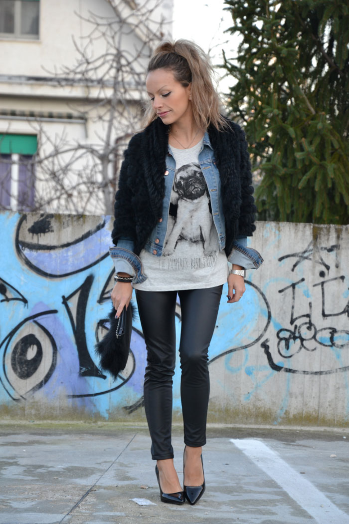 Faux fur jacket and pochette and Zara heels - It-Girl by Eleonora Petrella