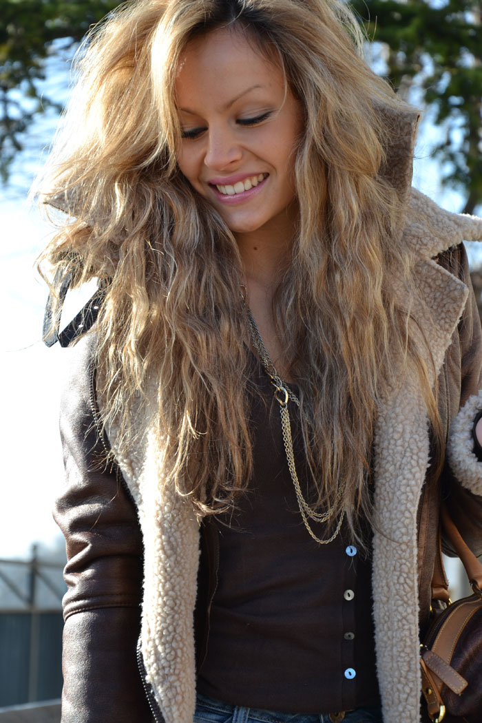 Bershka shearling jacket - It-girl by Eleonora Petrella