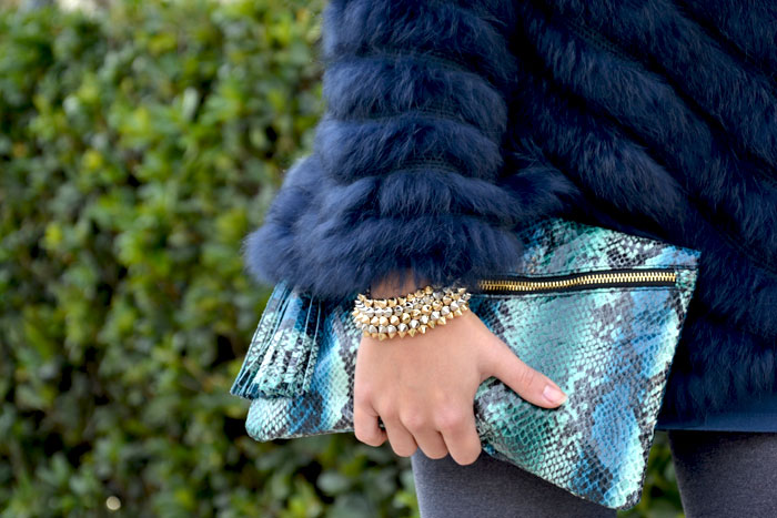 Blue faux fur cape and Asos wedges - It-girl by Eleonora Petrella