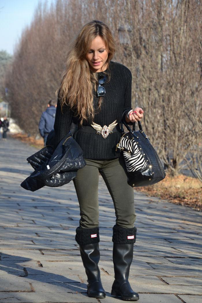 Zara Trousers and Hunter Original Tour boots - It-girl by Eleonora Petrella