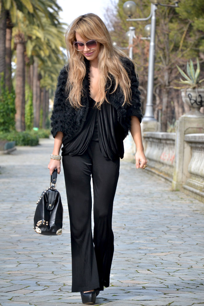 Pinko black jumpsuit and Oasap studded handbag - It-Girl by Eleonora Petrella