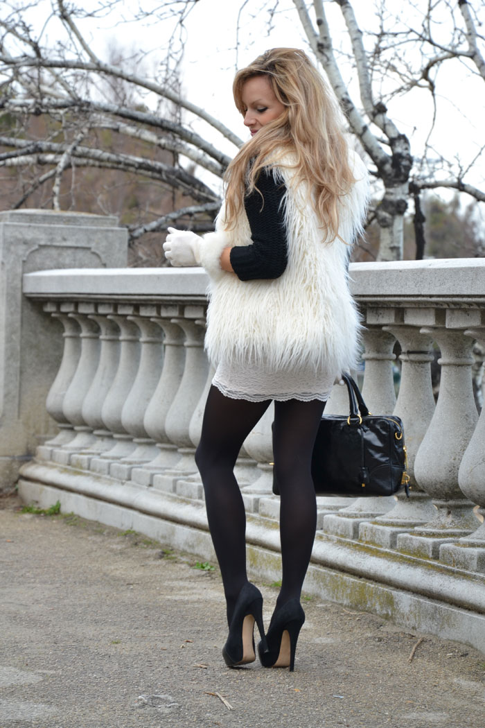 Faux fur sleeveless coat and lace skirt - It-girl by Eleonora Petrella