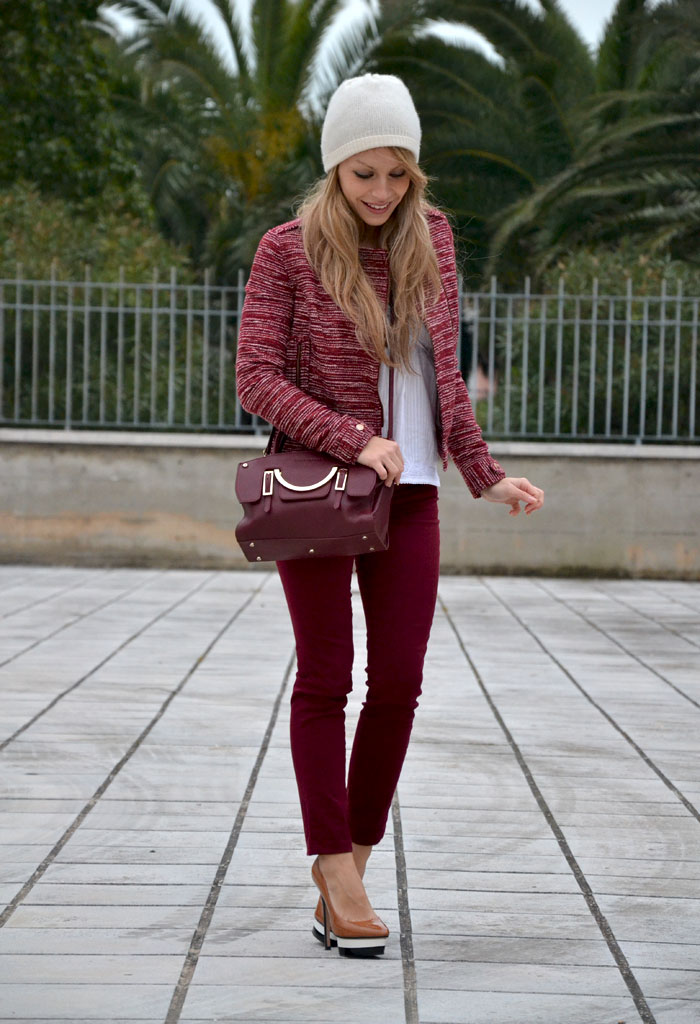 Burgundy trend and Coccinelle Celeste bag - It-Girl by Eleonora Petrella