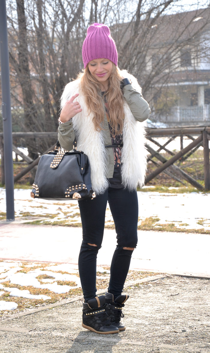 H&M faux fur, Zara sneakers alte and Oasap bag - It-Girl by Eleonora Petrella