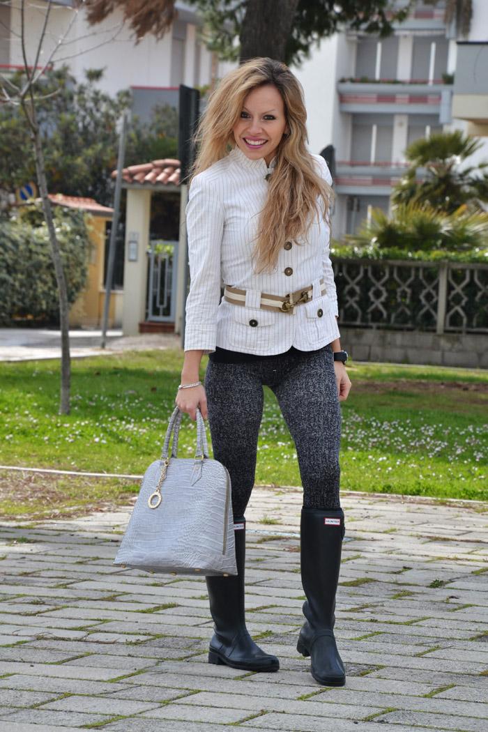 Zara blazer and Hunter boots - It-Girl by Eleonora Petrella