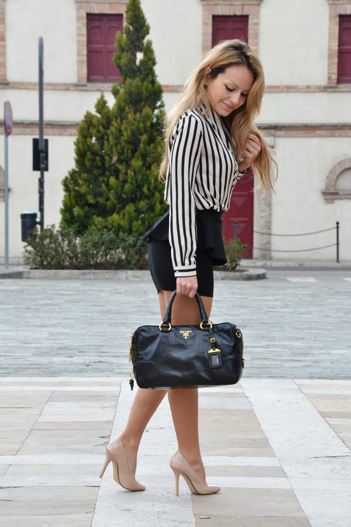 Choies striped shirt and Zara peplum skirt - Fashion blogger It-Girl by Eleonora Petrella