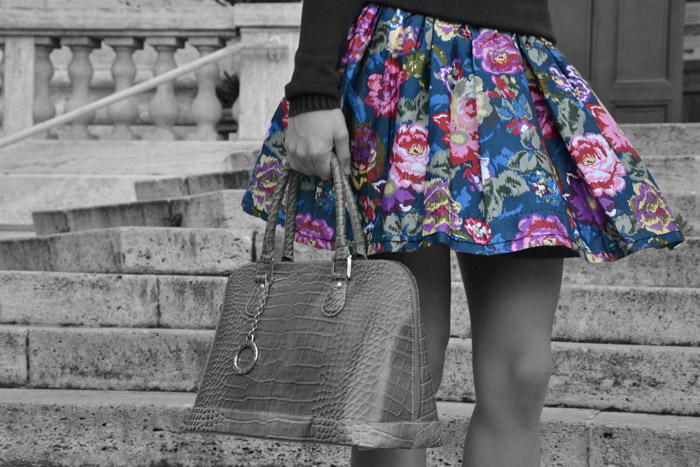 Gonna a fiori, borsa Arcadia bags e tacchi Zara - Italian fashion blogger It-Girl by Eleonora Petrella