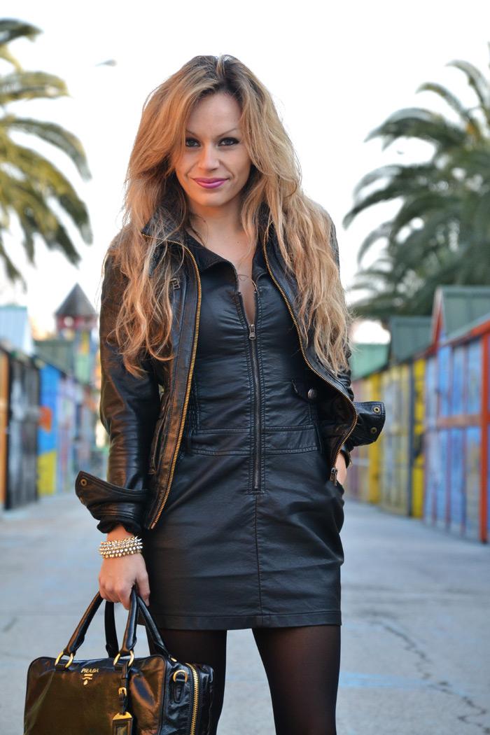 Leather mini dress, Prada bag and studded heels - It-Girl by Eleonora Petrella