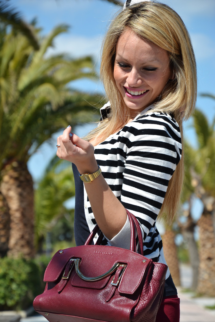 Stripes trend S/S 2013 and burgundy pants, heels and Coccinelle bag - outfit  [...]</p>