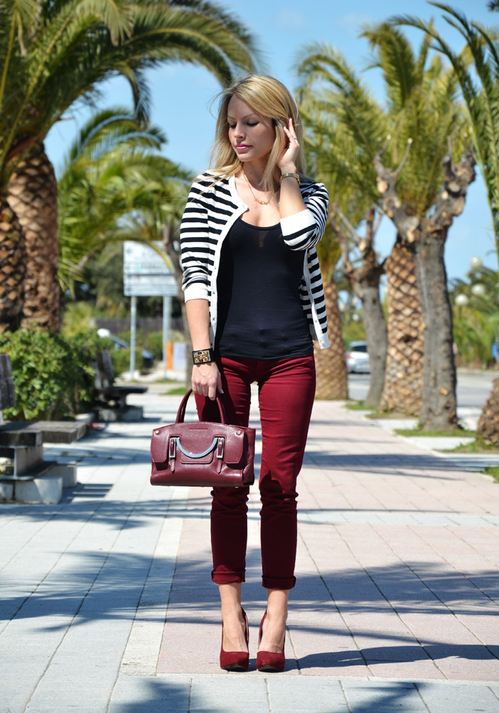 Stripes trend S/S 2013 and burgundy pants, heels and Coccinelle bag - outfit fashion blogger It-Girl by Eleonora Petrella