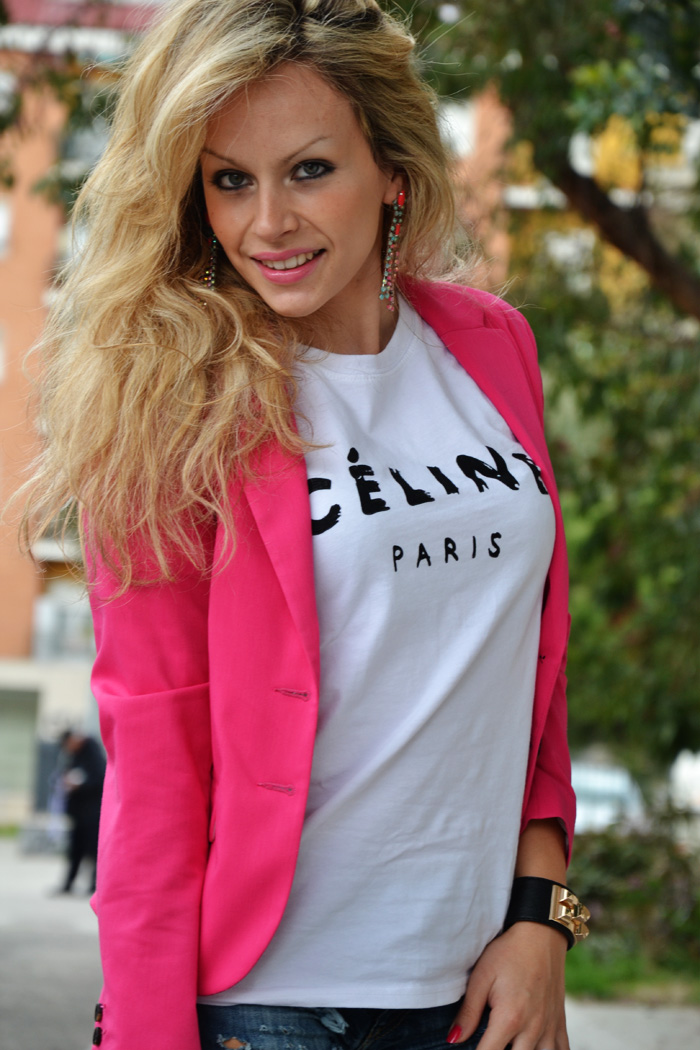 SheInside Celine Paris t-shirt and Oasap studded bag - outfit fashion blogger It-Girl by Eleonora Petrella