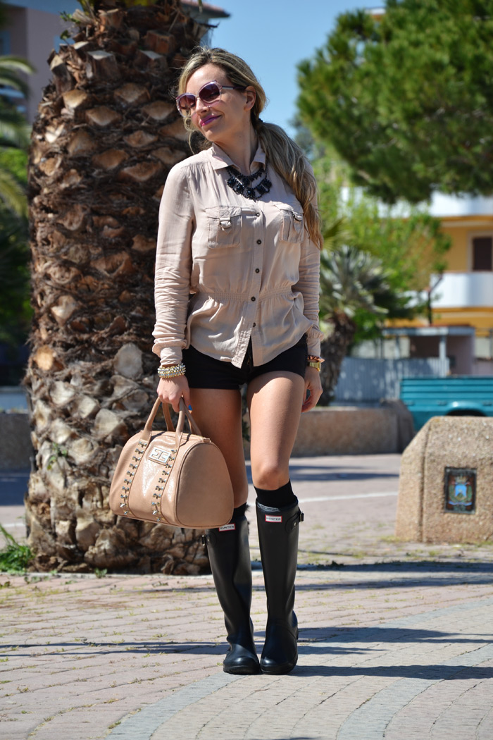Outfit shorts and Hunter boots, Kate Moss style - fashion blog It-Girl by Eleonora Petrella