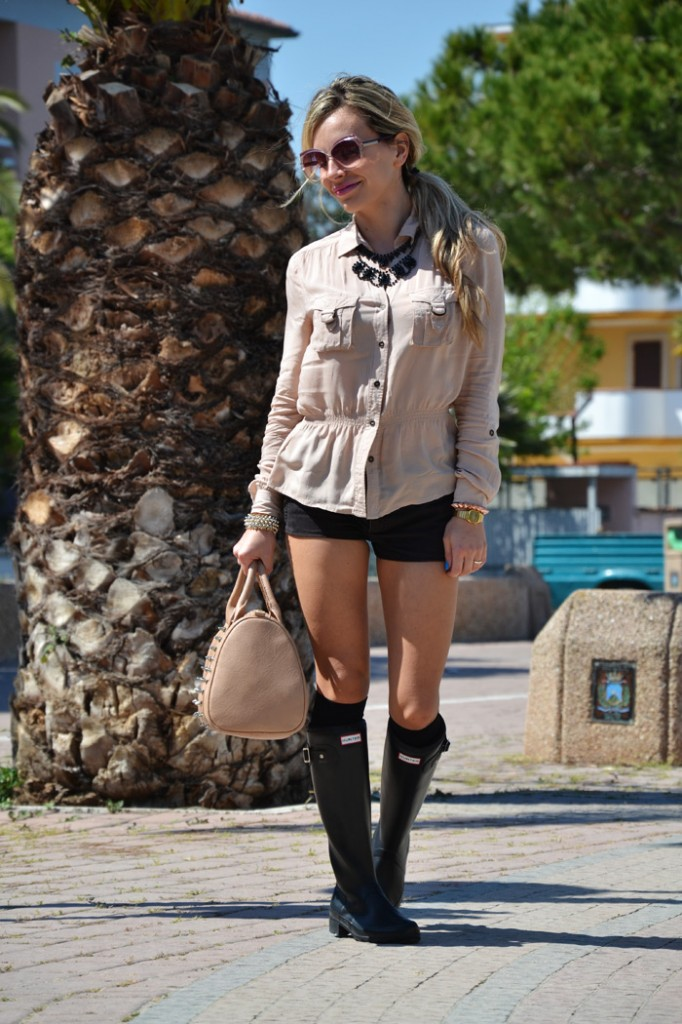Shorts and Hunter boots