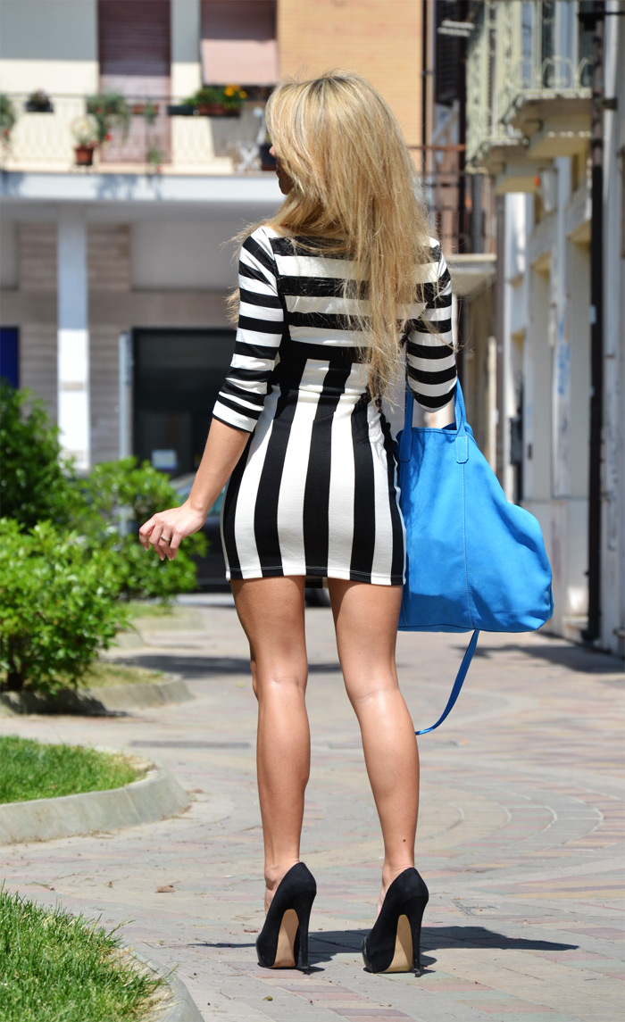 Choies dress with black and white stripes and Arcadia bag - outfit fashion blogger It-Girl by Eleonora Petrella