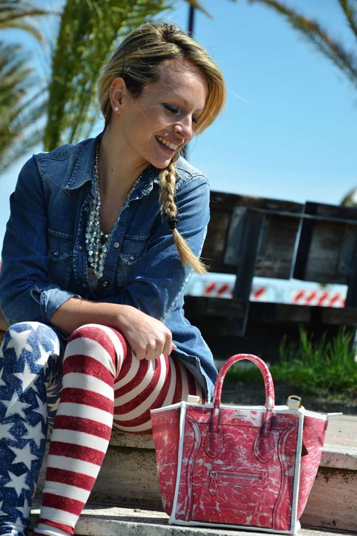Calzedonia american flag leggings, Banana Taipei bag and Converse [...]</p> 			</div> 			 							<div class=