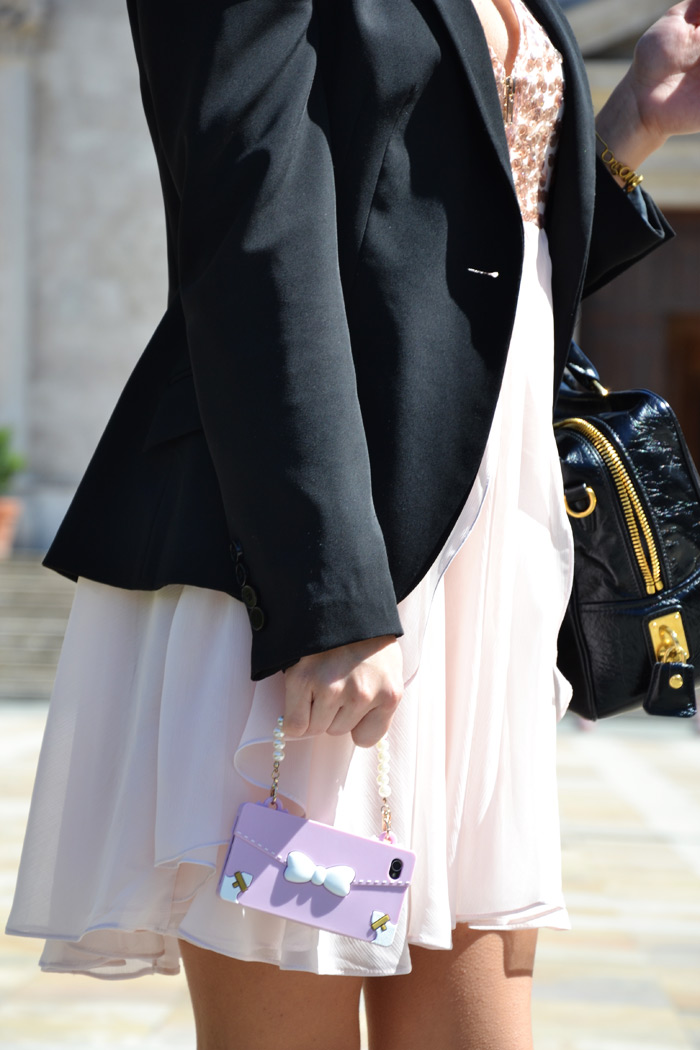 Pink chiffon dress, Prada bag and Zara black heels - Italian fashion blogger It-Girl by Eleonora Petrella