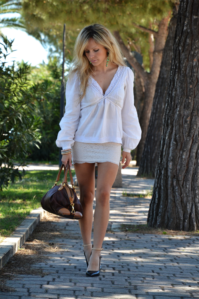white lace skirt and shirt and Zara heels s/S 2013 - outfit fashion blogger spring 2013 It-Girl by Eleonora Petrella