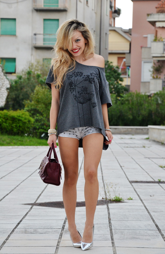LEN t-shirt, Bershka studded shorts and silver pumps - outfit fashion blogger It-Gi [...]</p>