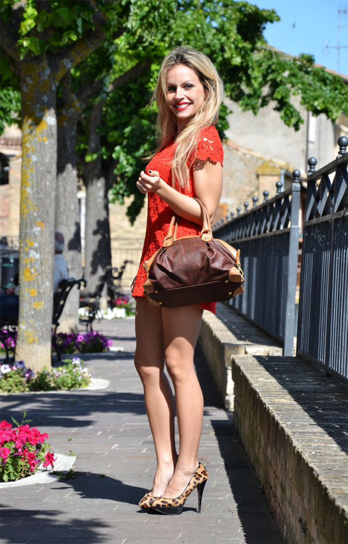 Zara red roses dress, leopard heels and Etro bag - outfit spring summer 2013 fashion blogger It-Girl by Eleonora Petrella