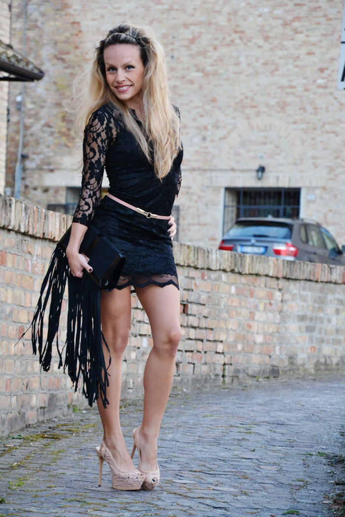 sheinside black lace dress and zara heels - outfit fashion blogger spring summer 2013 it-girl by Eleonora Petrella