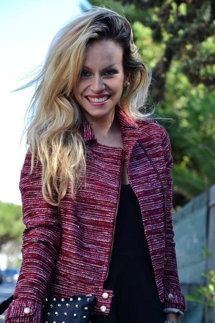 Burgundy Bershka blazer and shorts, Asos peplum top and Zara heels - outfit spring 2013 fashion blogger It-Girl by Eleonora Petrella