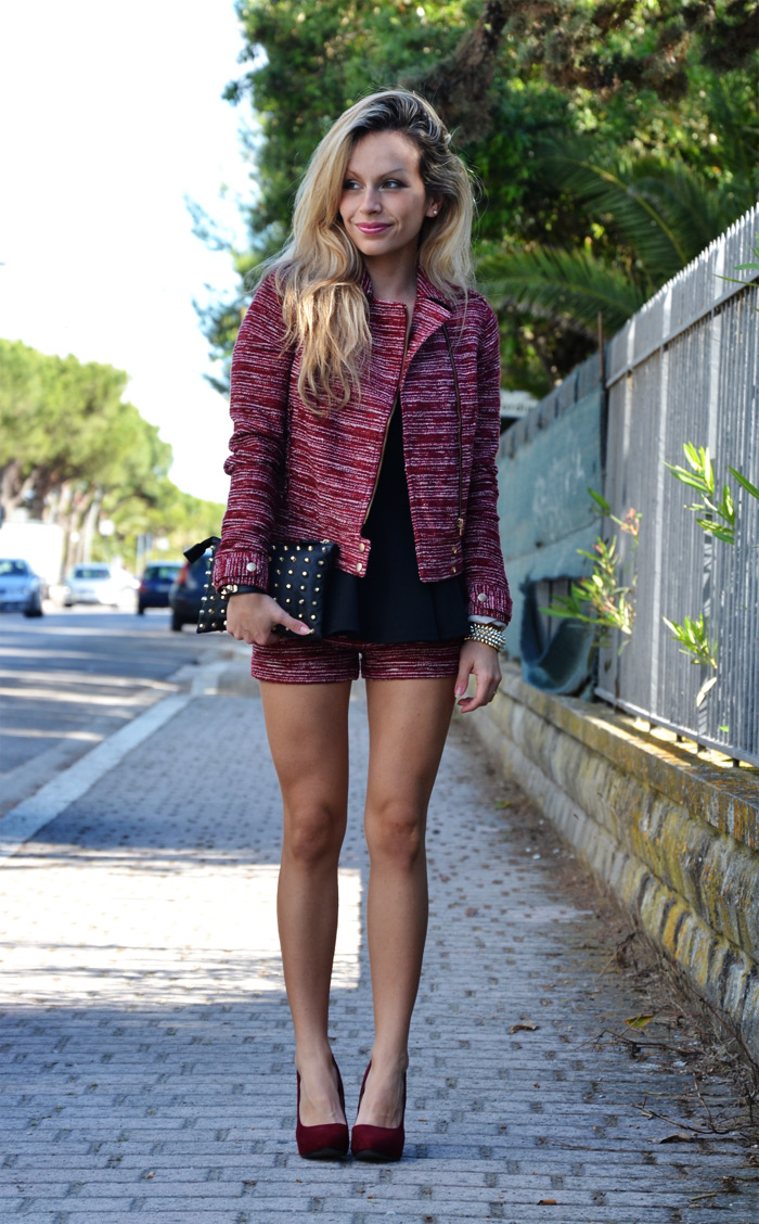 Burgundy Bershka blazer and shorts, Asos peplum top and Zara heels - outfit spring 2013 fashion blogger It-Girl by Eleonora Petrella