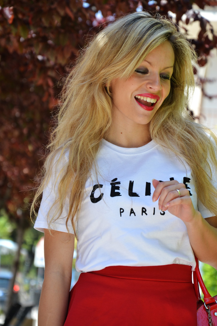 Sheinside Céline t-shirt and Zara peplum skirt - outfit fashion blogger ss2013 It-Girl by Eleonora Petrella