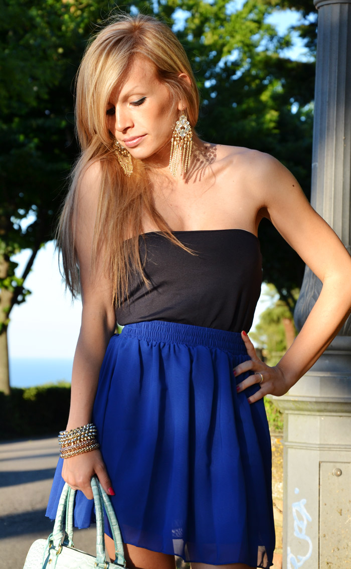 Oasap skater skirt electric blue and Zara pumps - outfit estate summer 2013 fashion blogger It-Girl by Eleonora Petrella