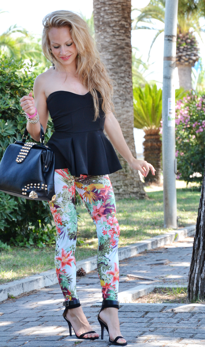 Stradivarius flowers print leggings and Asos peplum top - outfit fashion blogger summer 2013 It-Girl by Eleonora Petrella