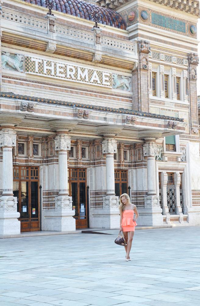 Zara peplum dress, cream pumps, etro bag outfit salsomaggiore terme fashion blogger it girl by Eleonora Petrella