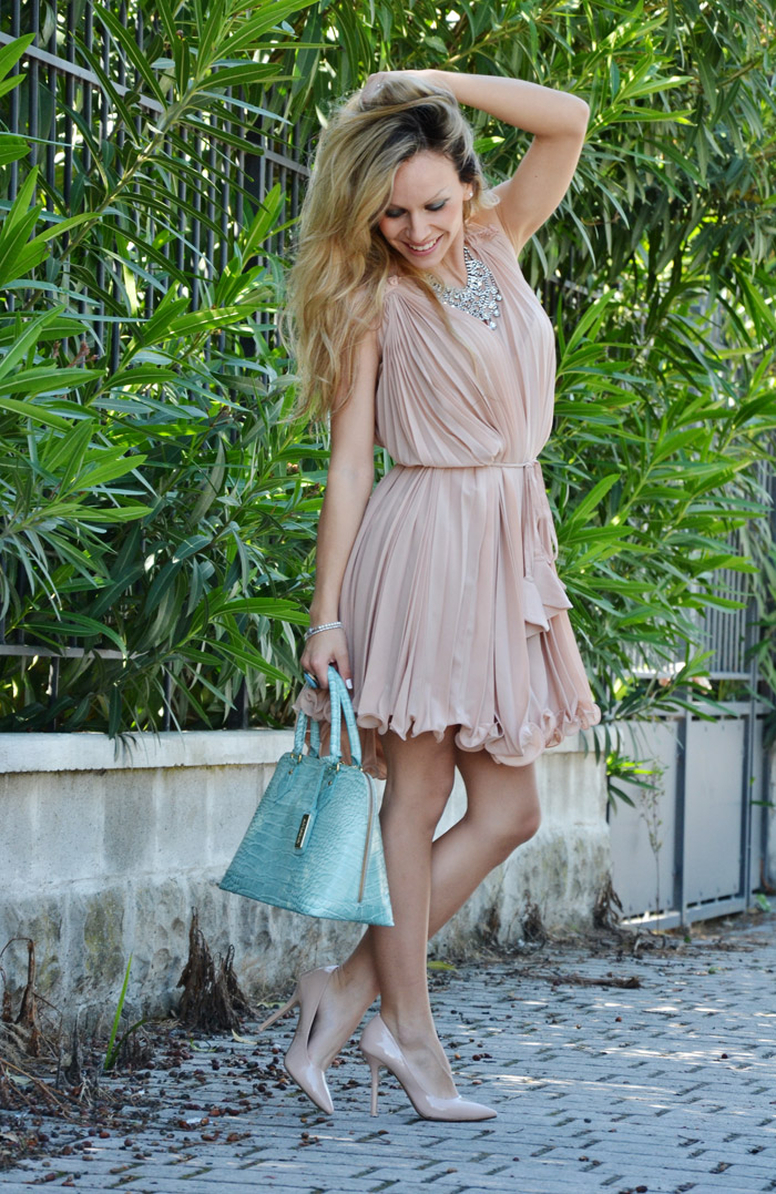 Chicwish chiffon dress and Zara cream coloured pumps - outfit spring summer 2013 fashion blogger It-Girl by Eleonora Petrella