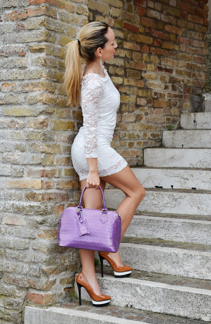 Sheinside white lace dress and Arcadia bag - outfit summer 2013 fashion blogger It-Girl by Eleonora Petrella