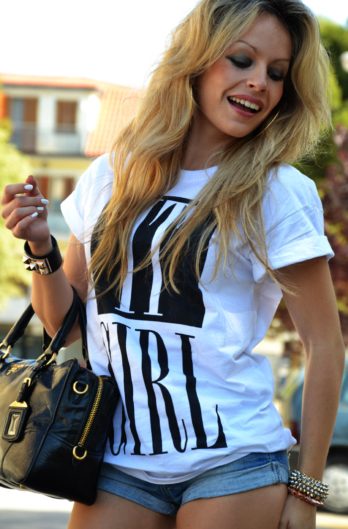 Forever 21 It Girl t-shirt and denim shirt - outfit spring 2013 fashion blogger It-Girl by Eleonora Petrella