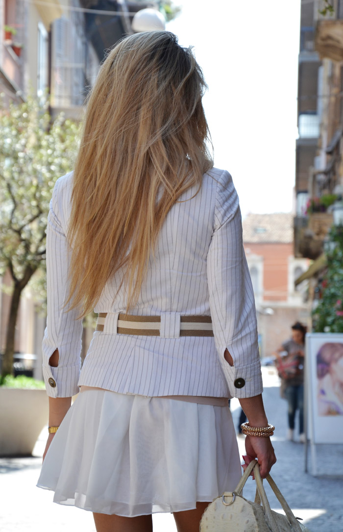 Oasap Candy skater skirt and Zara blazer, outfit in white summer 2013 fashion blogger It-Girl by Eleonora Petrella