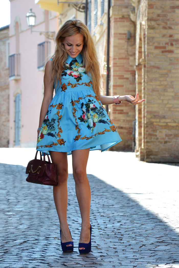 Romwe retro printing dress - outfit summer fashion blogger It-Girl by Eleonora Petrella