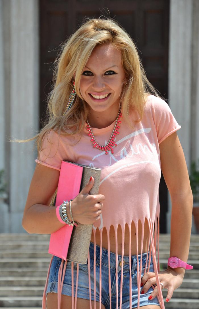 Anais Nereto TeeTrend top con frange Elena Santarelli - outfit estate 2013 fashion blogger It-Girl by Eleonora Petrella