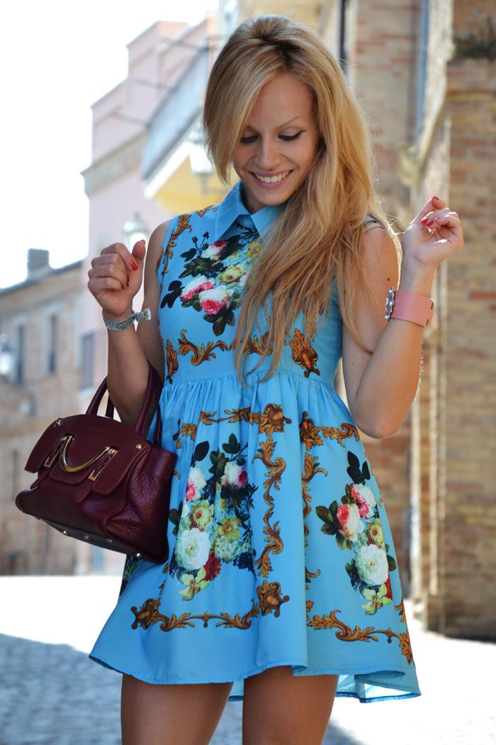 Romwe retro printing dress - outfit summer fashion blogger It-Girl by Eleonora Petrella