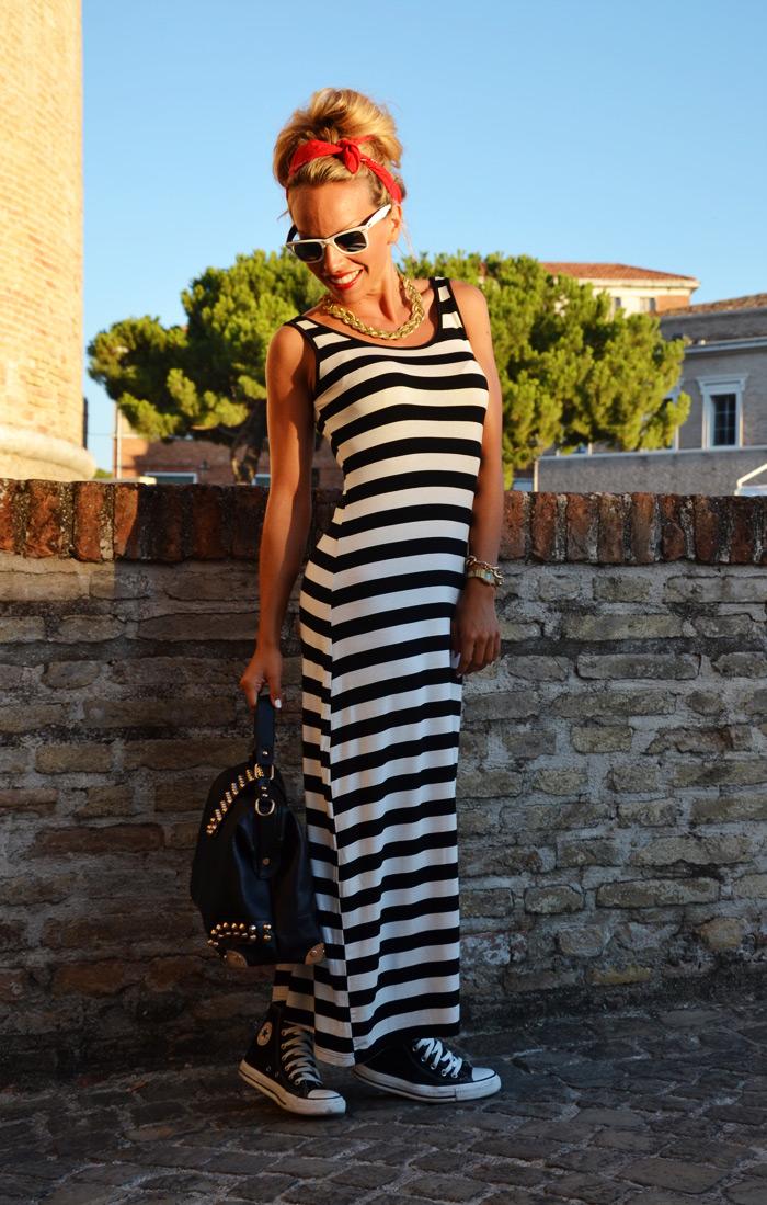 Summer Jamboree Senigallia estate 2013 vestito lungo a righe - outfit fashion blogger It-Girl by Eleonora Petrella