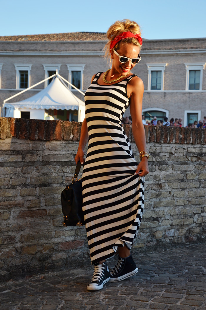 Summer Jamboree Senigallia estate 2013 vestito lungo a righe - outfit fashion blogger It-Girl by Eleonora Petrella