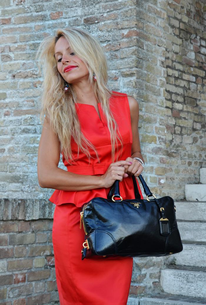Choies sexy red dress, Prada bag bauletto - outfit summer 2013 italian fashion blogger It-Girl 2013