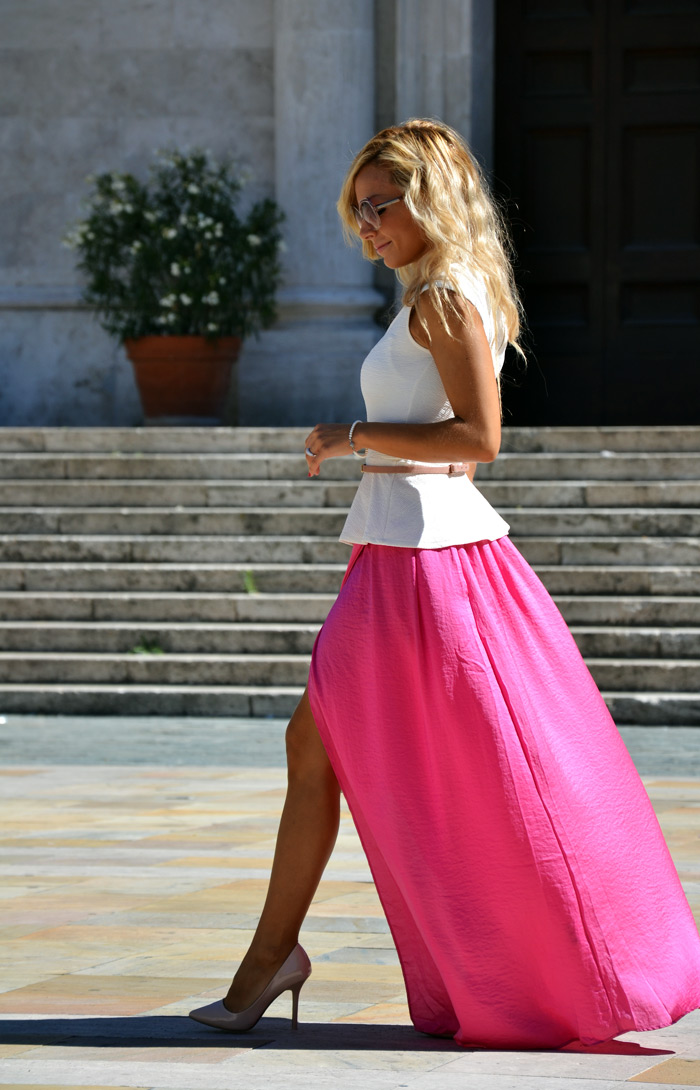 Choies maxi skirt with split, cream Zara pumps, peplum top and Furla bag - outfit fashion blogger september It-Girl by Eleonora Petrella
