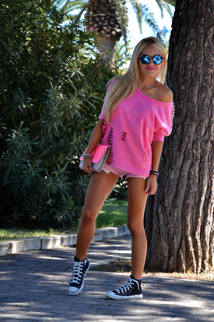 Punk style Romwe t-shirt, Hype Glass sunglasses fashion blogger outfit look summer 2013 - It-Girl by Eleonora Petrella