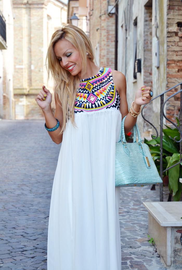 SheInside ethnic maxi dress, Zara black sandals and Arcadiabags - outfit september italian fashion blogger It-Girl by Eleonora Petrella